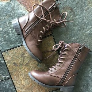Shoes - Toddler Brown Zip Up Fashion Combat Boots sz 7